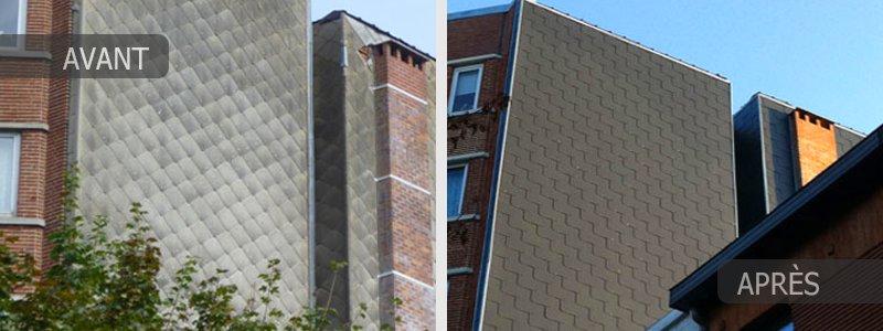 Rénovation d'un bardage de façade en région Bruxelloise