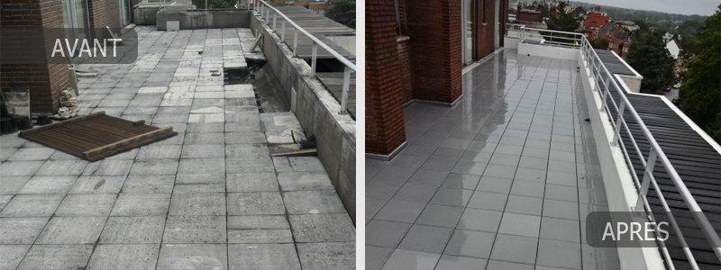 Rénovation toit, balcon et terrasse à Bruxelles