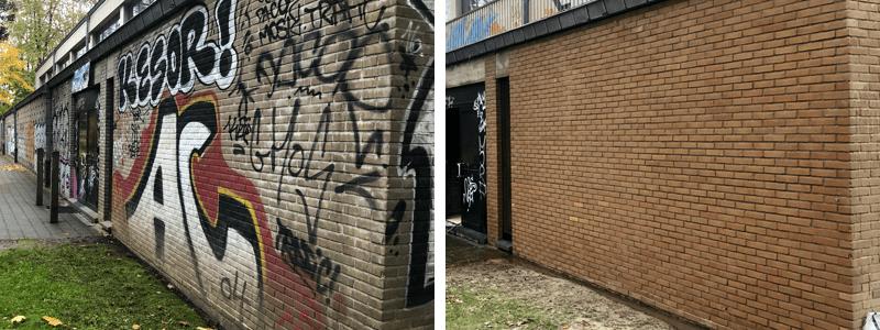 Nettoyage de graffiti sur la façade grâce à euronet