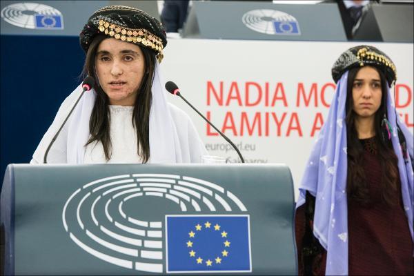 Lamiya Aji Bashar receiving the European Parliament's Sakharov Prize for Freedom of Thought in Strasbourg, 13 December 2016
