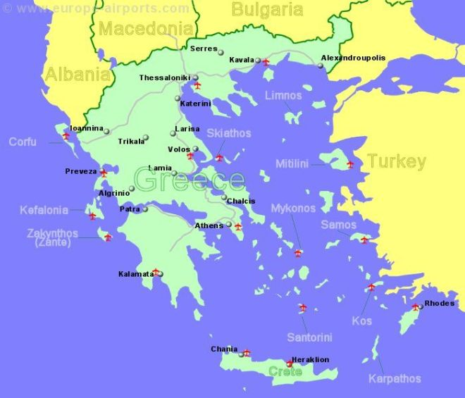 Large Map of Greece showing all airports with scheduled flights from the UK or Ireland