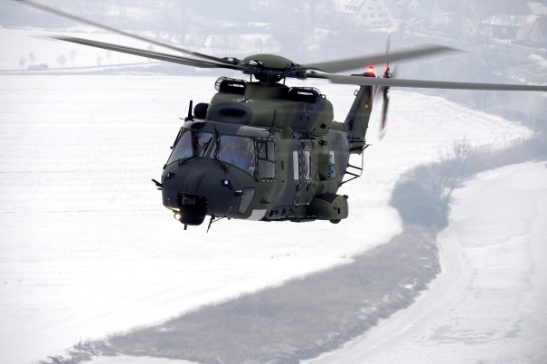 German AirForce's variant of NH90 (note : the AirForce variant has 3 lateral flares launchers)