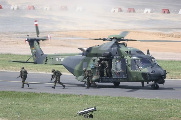 German Army's variant of NH90 (note : the Army variant has 2 lateral flares launchers only)