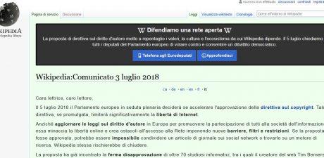Wikipedia Italy Slams Draft EU Copyright Bill, Goes Dark in Protest