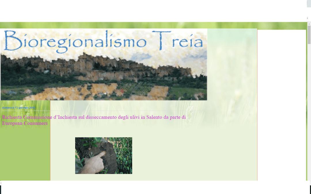 Bioregionalismo Treia diffonde la richiesta di commissione di inchiesta su Xylella