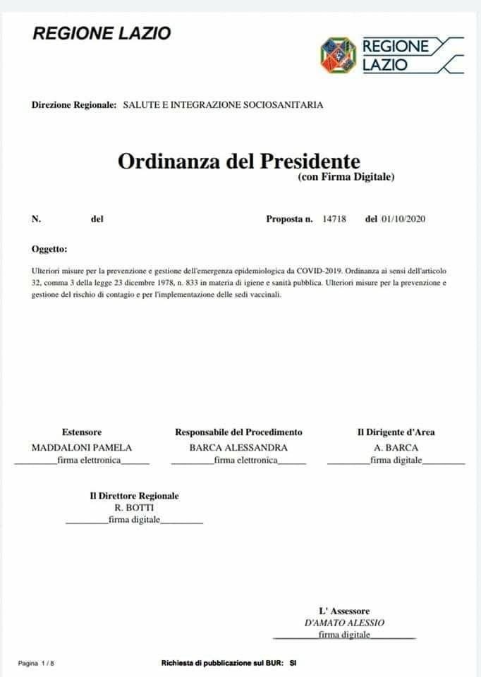 Il presidente della Regione Lazio bocciato sui vaccini antinfluenzali impone senza ragioni le mascherine anche all'aperto