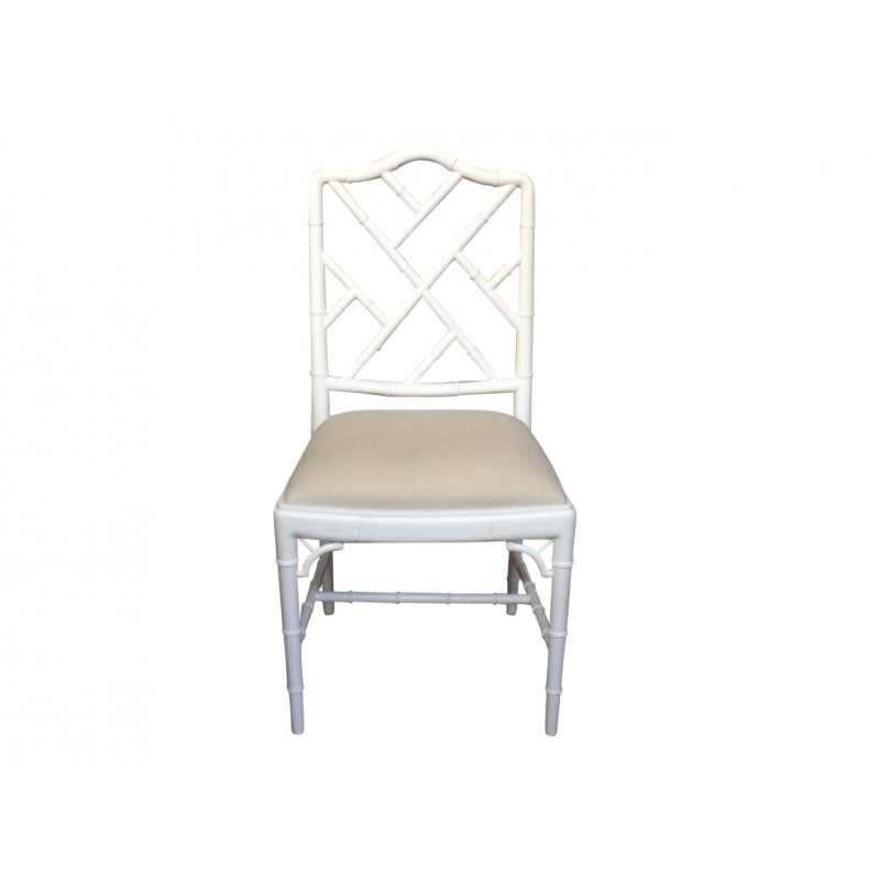 European Design Chinoise Chippendale Dining Chair In White