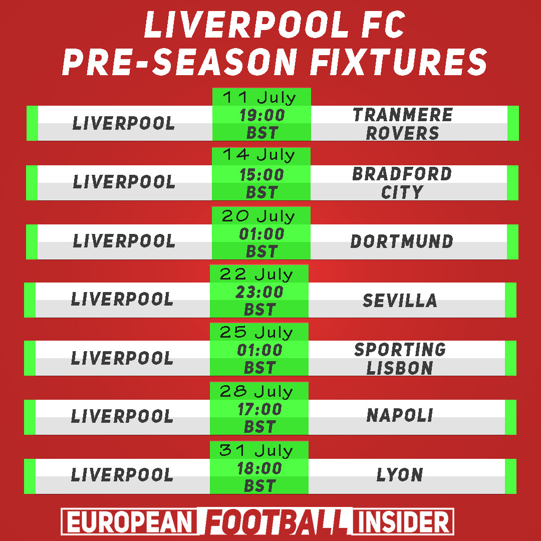 liverpool pre-season fixtures and where to watch on tv