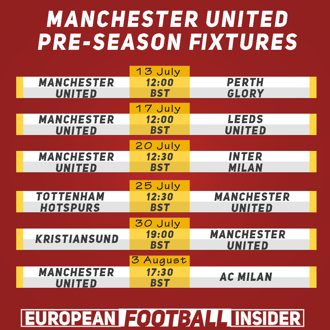 manchester united pre season fixtures on tv