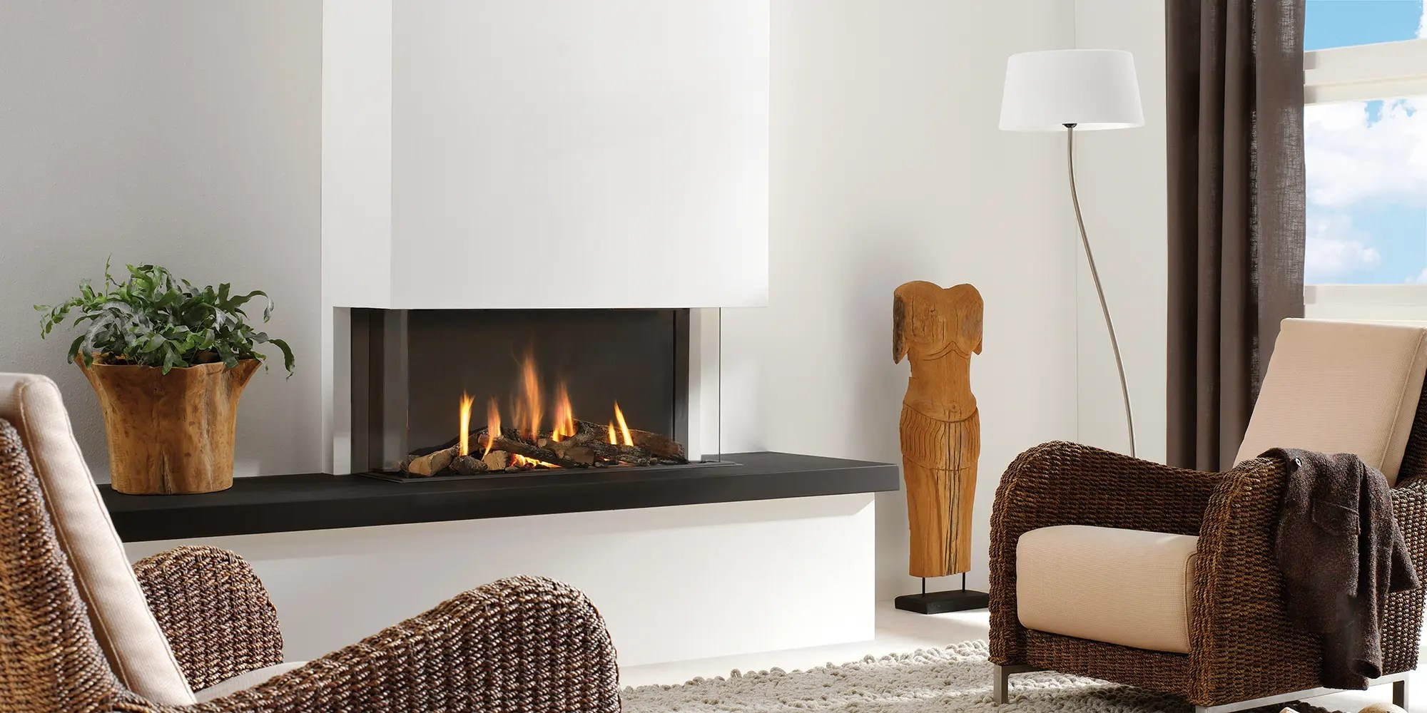 Three Sided Gas Fireplace Trisore 95 By Element 4