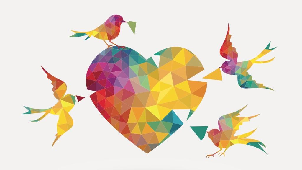 In a colorful image, four birds contribute pieces to a jigsaw of a heart