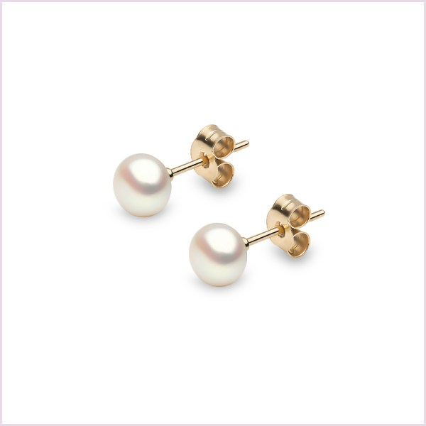 Euro Pearls White Button Shaped Freshwater Pearl Stud Earrings