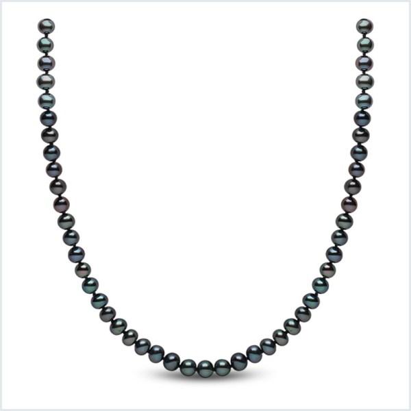 Euro Pearls 5mm Black Freshwater Pearl Necklace