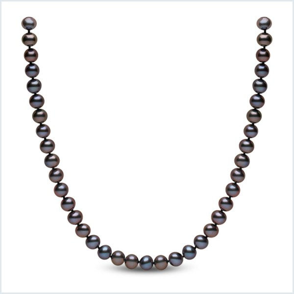 Euro Pearls 7mm Black Freshwater Pearl Necklace