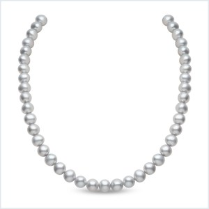 Euro Pearls 9mm Grey Freshwater Pearl Necklace