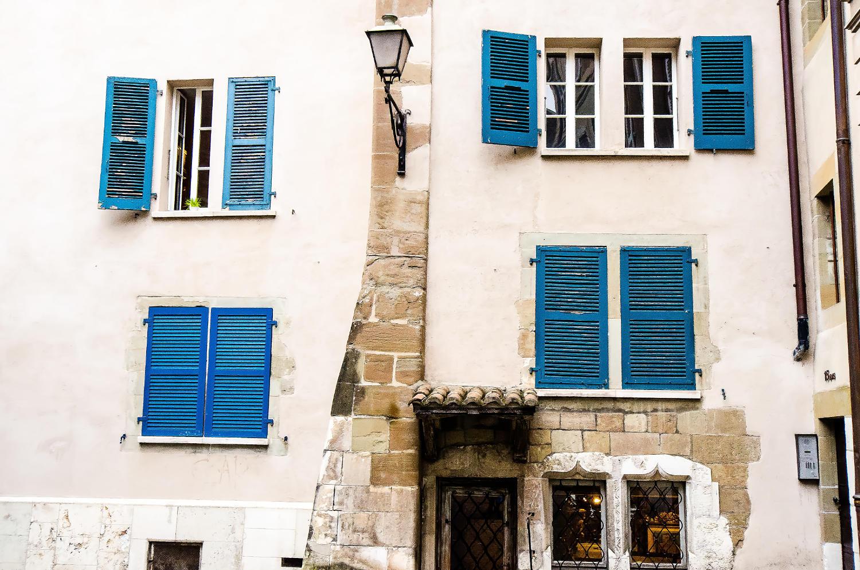 Windows in Geneva's Old Town