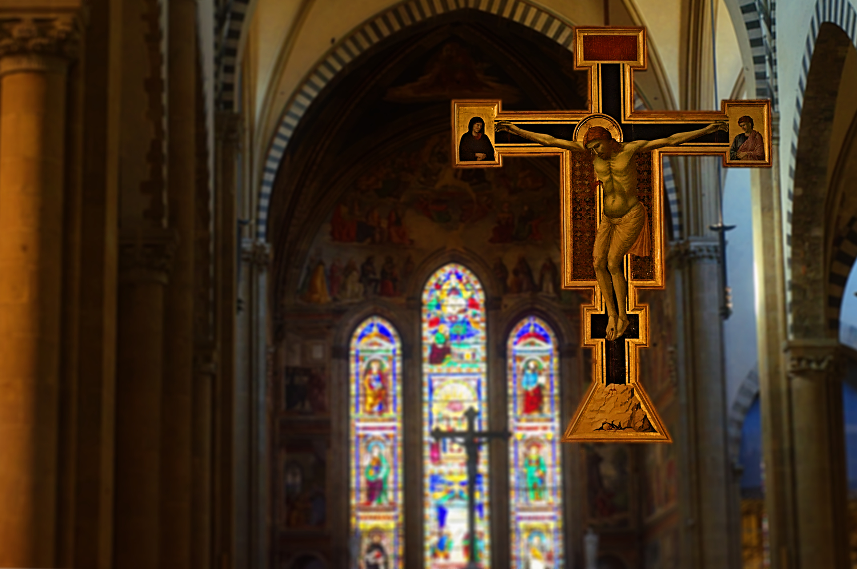 Giotto's Cross in Santa Maria Novella, Florence , Italy