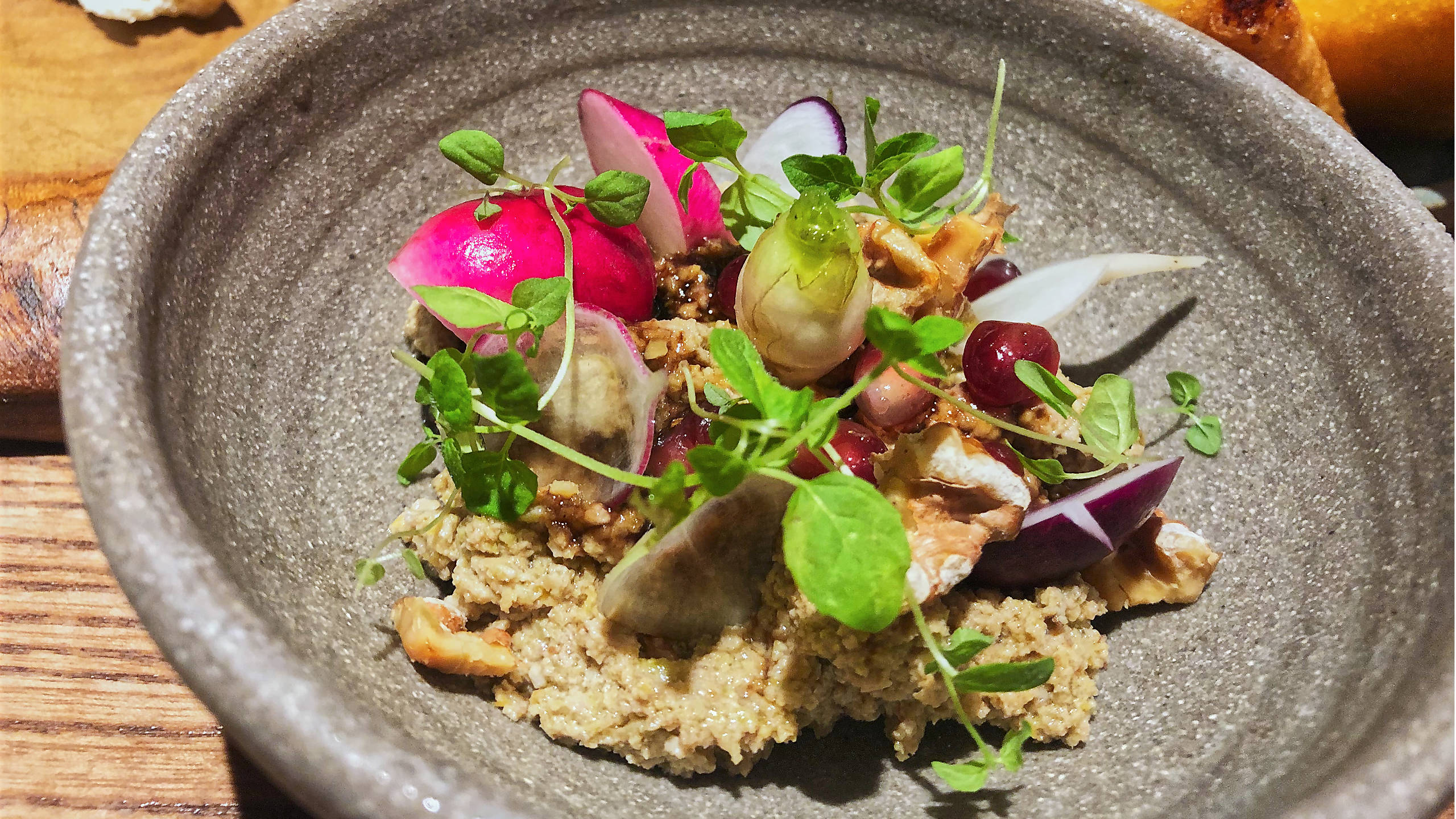 A beautifully decorated dish of Smokey aubergine at Nutshell London