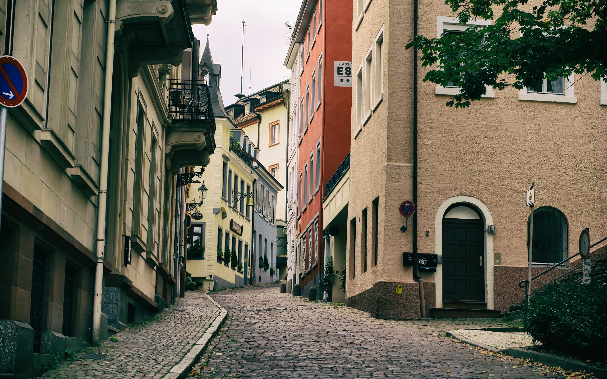 A cobbled backstreet in Baden Baden Germany