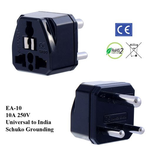 EA-10_Black, India Plug Adapter with Schuko Ground