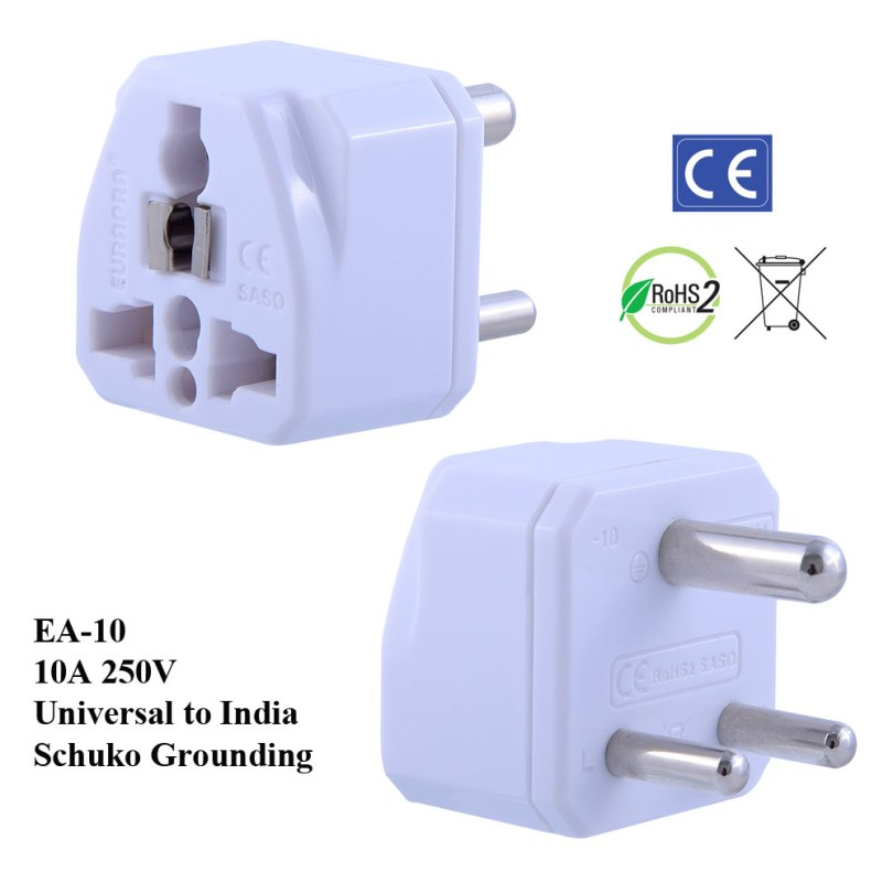 EA-10_White, India Plug Adapter with Schuko Ground