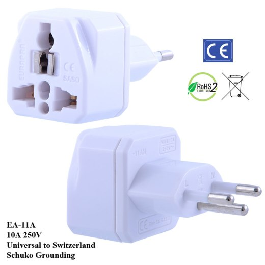 EA-11A_White, Switzerland Plug Adapter with Schuko Ground