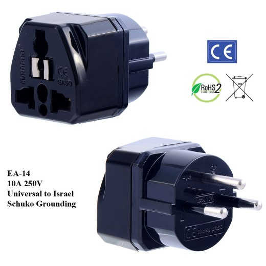 EA-14_Black, Israel Plug Adapter with Schuko Ground
