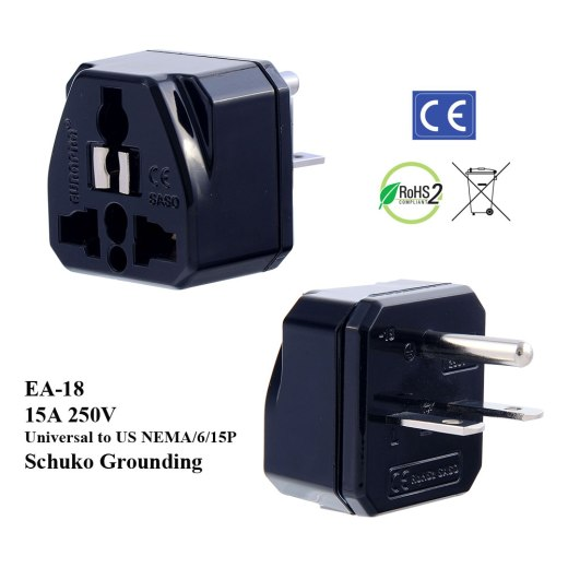 EA-18_Black, 250V 15A US Plug Adapter with Schuko Ground
