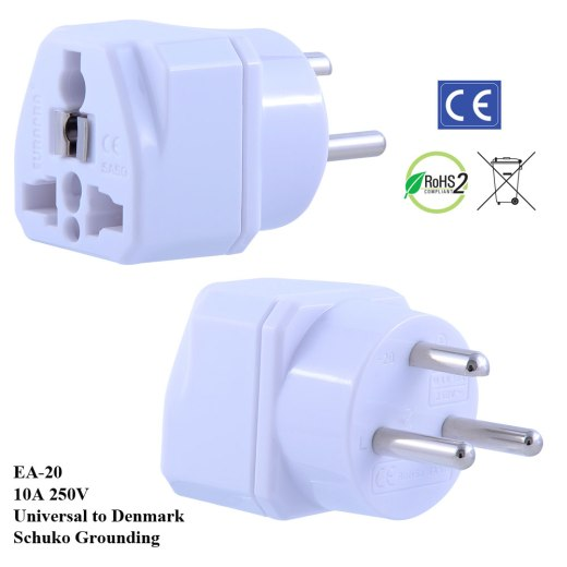 EA-20_White, Denmark Plug Adapter with Schuko Ground