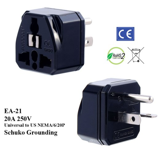 EA-21_Black, 250V 20A US Plug Adapter with Schuko Ground