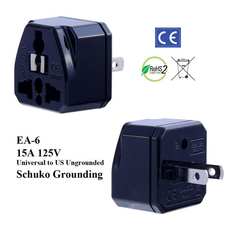 EA-6_Black, Ungrounded US Plug Adapter with Schuko Ground