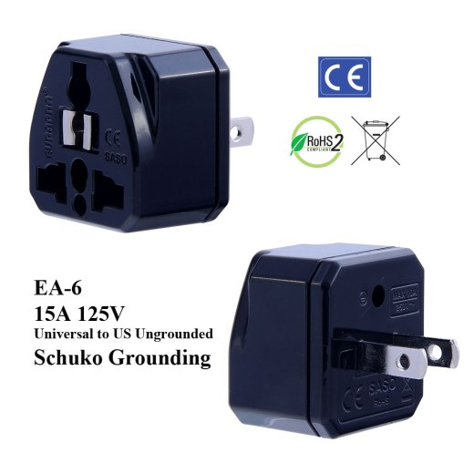 EA-6_Black, Ungrounded US Plug Adapter with Schuko Ground