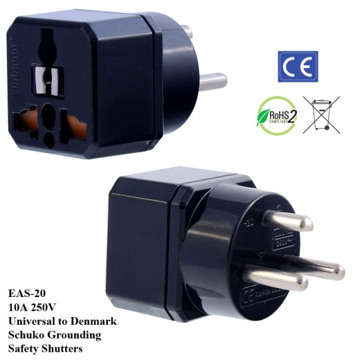 EAS-20_Black, Denmark Plug Adapter w Schuko Ground & Safety Shutters