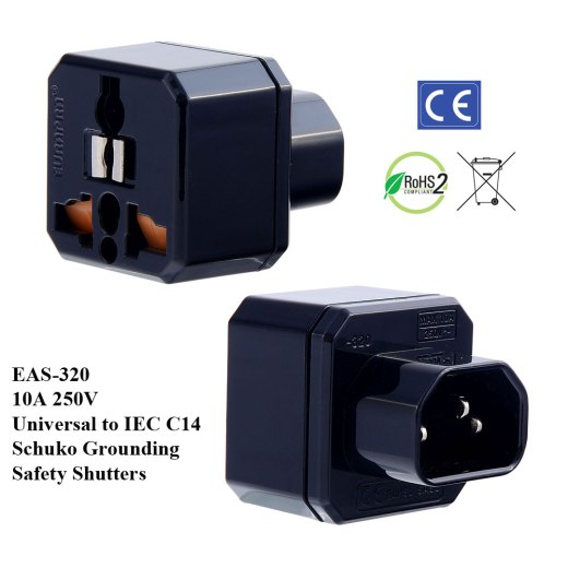 EAS-320_Black, IEC C14 Plug Adapter w Schuko Ground & Safety Shutters