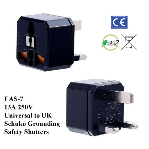 EAS-7_Black, UK Plug Adapter w Schuko Ground & Safety Shutters
