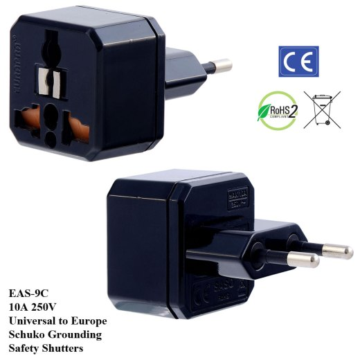 EAS-9C_Black, Europe Plug Adapter w Schuko Ground & Safety Shutters