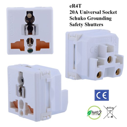 eR4T white universal socket schuko grounding saftey shutters large picture