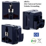 eR4Ta_black Universal Outlet with Schuko Ground