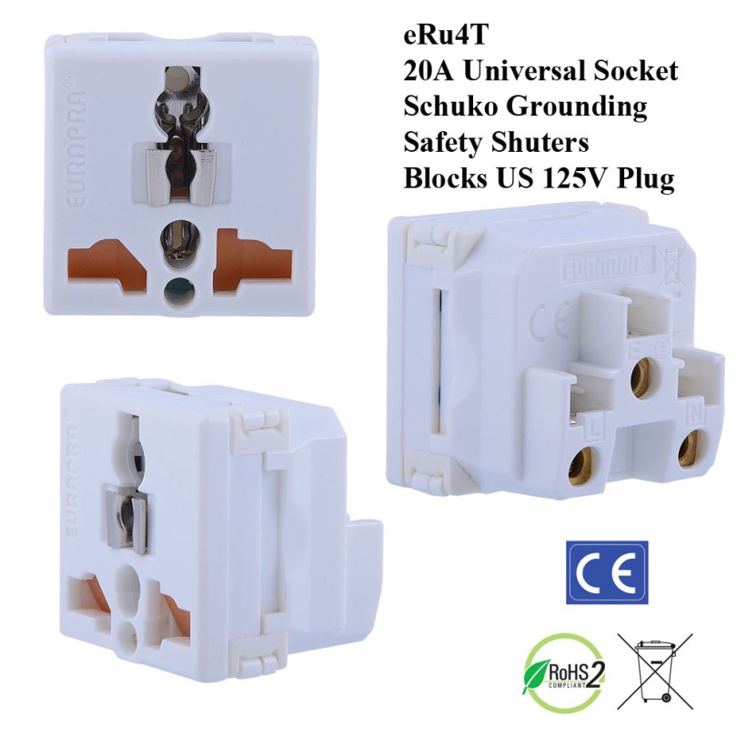 eRu4T_white, Universal Outlet with Schuko Ground and Safety Shutters (Blocks US 110V Outlet)