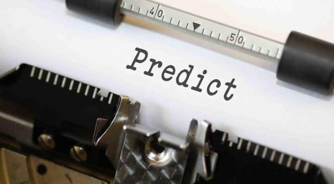 """Predict"" written on a sheet of paper in a typing machine"