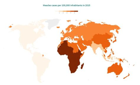 measles cases per 100,000 inhabitants in 2015