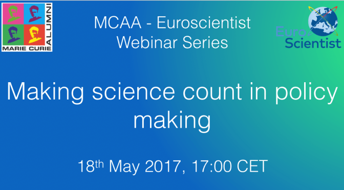 "Webinar: ""Making science count in policy making"""