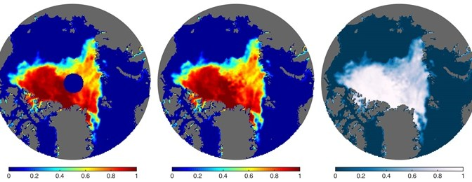 Applied mathematics: The left image is an example of the polar data gap (dark blue disc) on August 30, 2007, with shading outside the disc indicating concentration. The middle and right images show the data fill presented here; the color shading at right is similar to that used by the National Snow and Ice Data Center (http://nsidc.org).