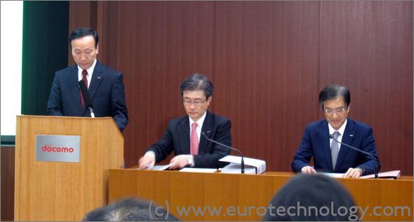 Docomo financial report: Kaoru Kato, CEO of NTT-Docomo explaining NTT-Docomo's annual results in Tokyo on April 25, 2014
