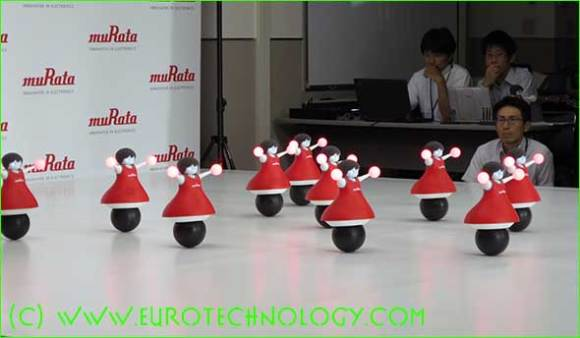 Murata cheerleader robots dance in sync