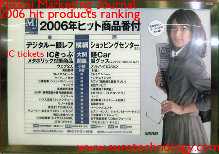 RFID tickets such as SUICA make it to the top of the NIKKEI marketing ranking list in 2006