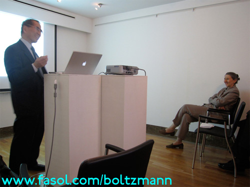 Hisashi Kobayashi at the Ludwig Boltzmann Symposium - the Ambassador of Austria listens