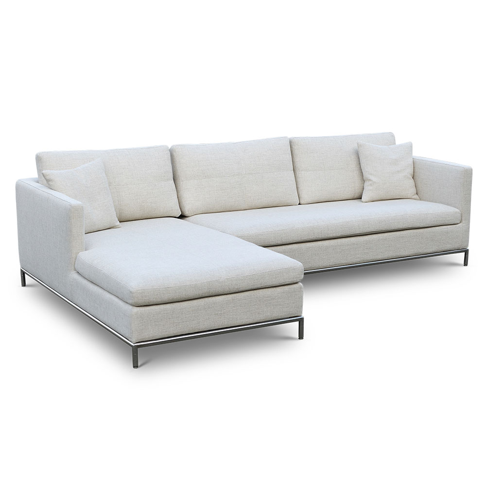 istanbul left facing chaise sectional cream tweed