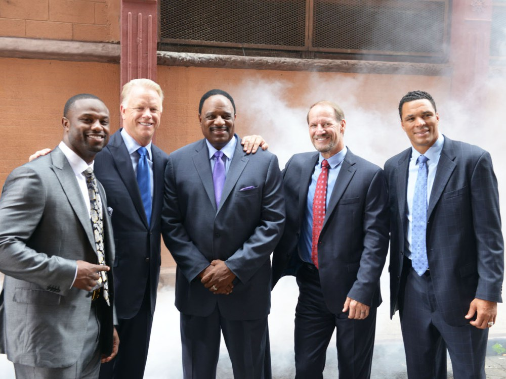 NFL Today Promo Shoot (L-R): Bart Starr, Boomer Esiason, James Brown, Bill Cohwer, Tony Gonzalez
