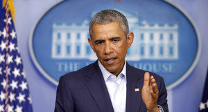 President Barack Obama speaks in the James Brady Press Briefing Room of the White House in Washington, Monday, Aug. 18, 2014.
